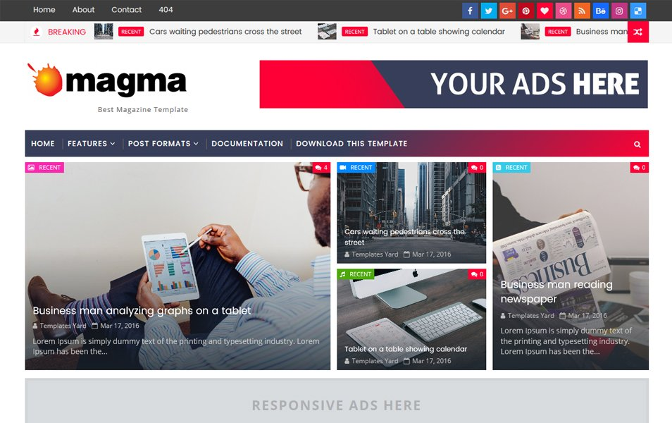 Magma Responsive Blogger Template