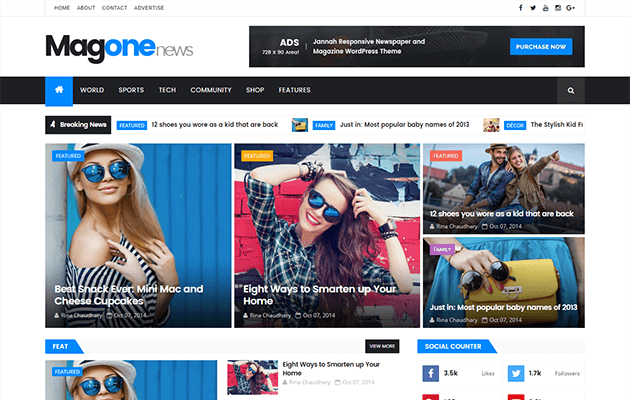 5. MagOne Responsive Blogger Template