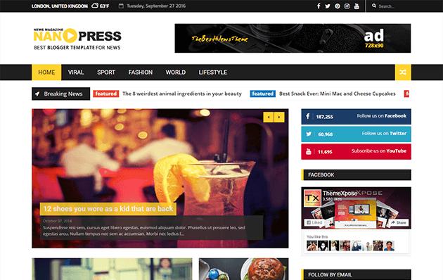8. Nanopress Responsive Blogger Template