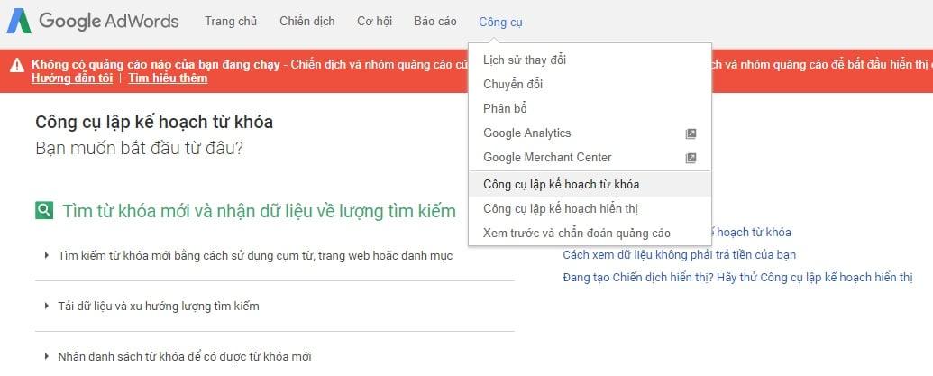 Sử dụng công cụ Google Keyword Planner