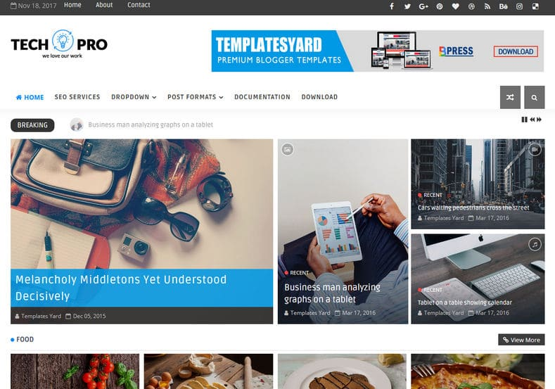 TechPro Blogger Template is one of the best magazine responsive blogger theme with all the latest features and perfect for Technology, News, Fashion, Entertainment and Cooking blog.