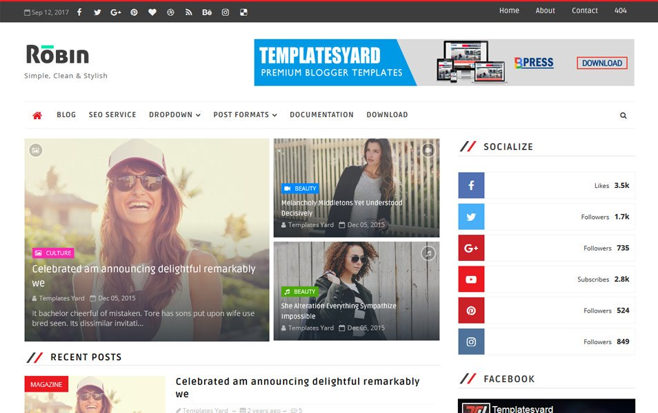 3. Robin Responsive Blogger Template