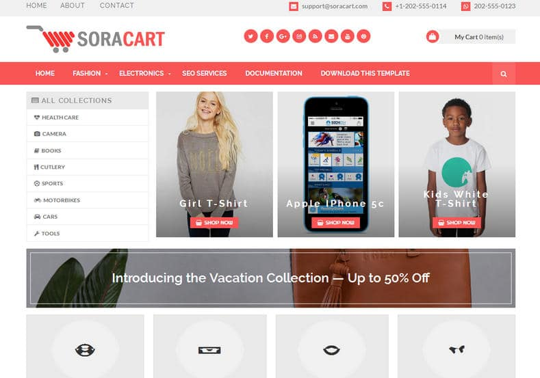 SoraCart Shopping Blogger Template