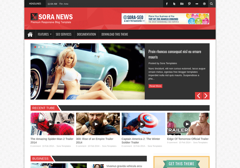 Sora News Responsive Blogger Template is a browser compatible magazine fast loading theme perfect for tech, food, news, authority and multi niche bloggers