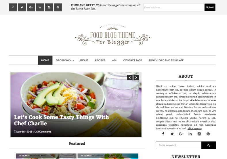 Food Blog Blogger Template specially made for food, restaurant, hotels and cooking niche blogs. Download free from gooyaabitemplates. Food Blog Blogger Template.