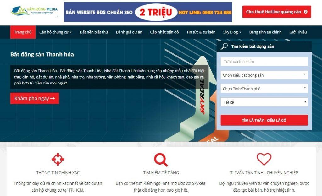website bất động sản, nhà đất mã M33 chuyên nghiệp chuẩn SEO